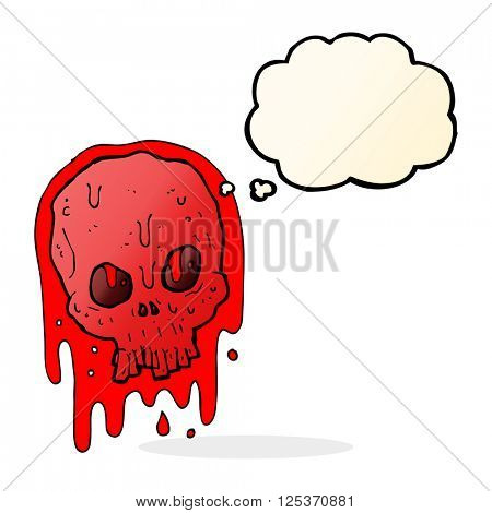 cartoon bloody skull with thought bubble