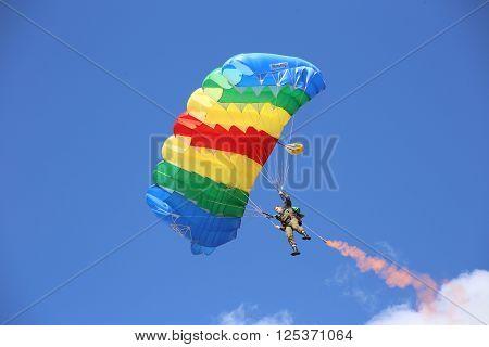 Vitebsk, Belarus - August 2, 2015: paratrooper during the celebration of the Paratroopers VDV Day on 2 August 2015 in Vitebsk