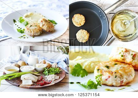 Collage. Cooking Fish or chicken cutlets with mashed potatoes