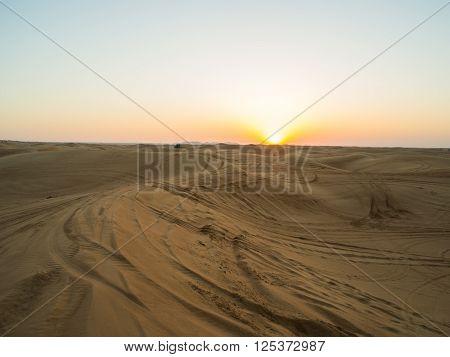 Bright sunset in the Arabian Desert near Dubai ** Note: Soft Focus at 100%, best at smaller sizes