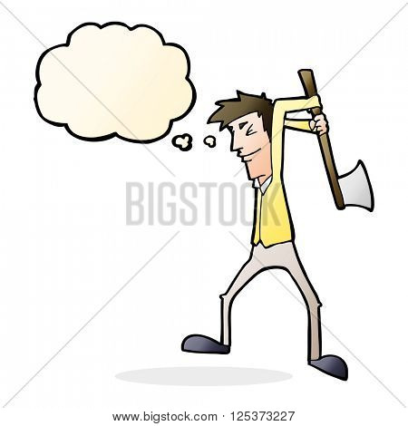 cartoon man swinging axe with thought bubble