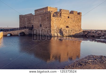 The old castle located on the edge of the harbor and is the visit card of the city, Paphos, Cyprus.