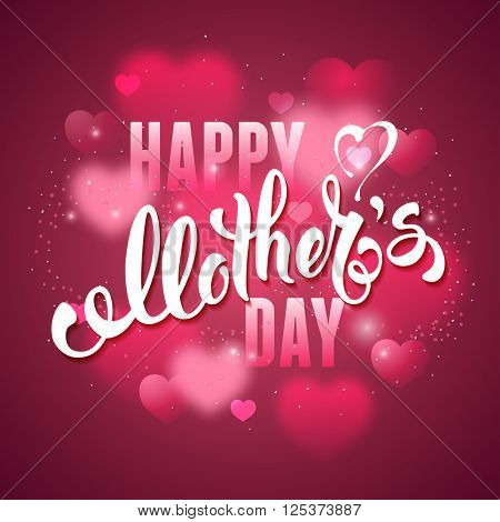 Mothers Day Lettering Calligraphic Design on Red Background With Hearts. Happy Mothers Day Inscription. Vector Illustration For Greeting Card and Other Print Templates.