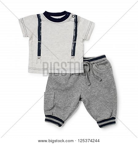 Child Sports Sweat Clothes Over White Background