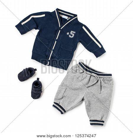 Child Sports Clothing Over White Background