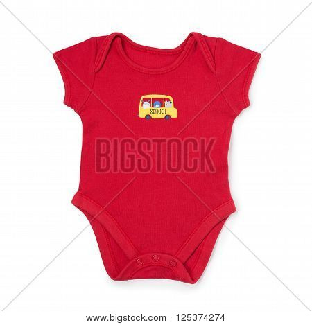 Cute Red Baby Onesie Over White
