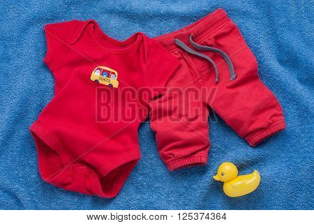 Single Red Baby Bodysuit With Plastic Toy Keys