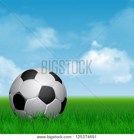 Card for Football Sport Theme with Soccer Ball on and Green Grass at Sunny Day. Blue Cloudy Sky on Background. Realistic Vector Illustration.