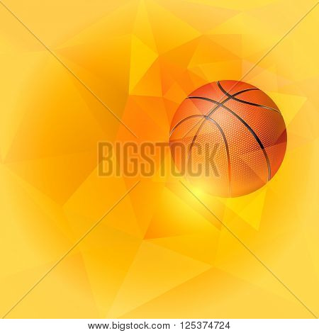 Square Background on Basketball Theme with Flying Basketball Ball on Unusual Triangular Background. Realistic Editable Vector Illustration.