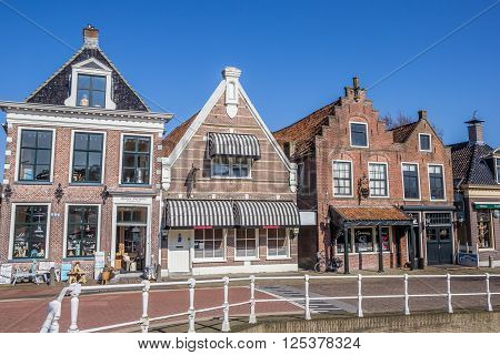 BALK, NETHERLANDS - APRIL 11, 2016: Shops and restaurants in historical village Balk, The Netherlands