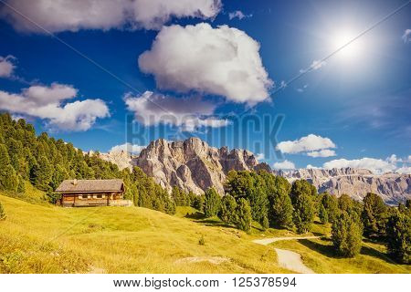 View on the Puez Odle or Geisler summits. Park of Dolomites, valley Gardena, South Tyrol. Location place village Ortisei, S. Cristina and Selva Gardena, Italy, Europe. Unusual scene. Beauty world