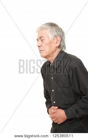 portrait of senior Japanese man suffers from stomachache?