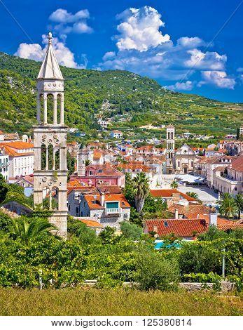 Hvar architecture and nature vertical view Dalmatia Croatia