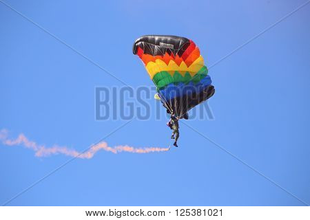 Vitebsk, Belarus - August 2, 2015: paratrooper during the celebration of the Paratroopers VDV Day on 2 August 2015 in Vitebsk
