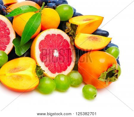 collection fresh fruit isolated on white