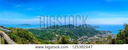 Panorama viewpoint of Phuket city Phuket province Thailand.
