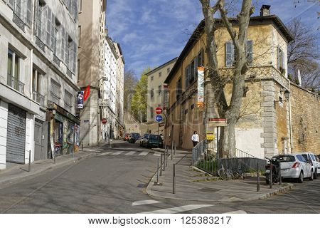 Lyon, France, April 8, 2016 : La Croix-rousse District. Due To Silk Industry History, District Is Ni