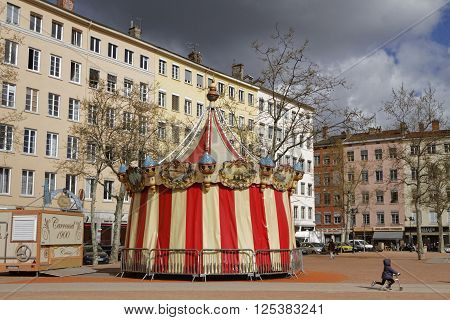 Lyon, France, April 8, 2016 : Merry-go-round On The Place De La Croix-rousse In Lyon. Croix-rousse D