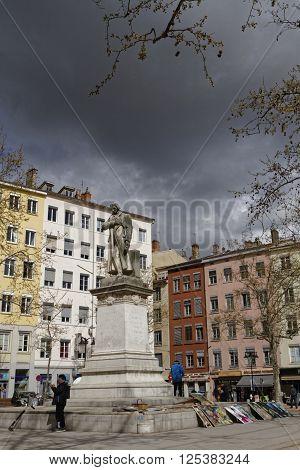 Lyon, France, April 8, 2016 : Jacquard Statue In Croix-rousse District. Jacquard Was A French Weaver