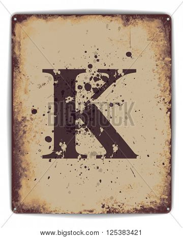 Retro tin plate style poster with capital letter K monogram.