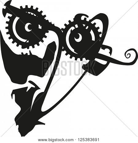Abstract Steam Punk Face Silhouette Vector