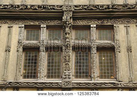 Caen (Calvados Normandy France): half-timbered house: a window