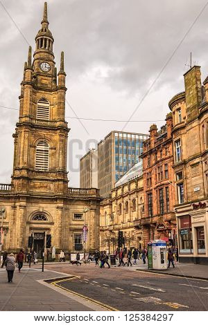 GLASGOW SCOTLAND - April 02: Glasgow street scene on April 02 2016 in Scotland. Glasgow is Scotland's largest city and third largest in Great Britain.