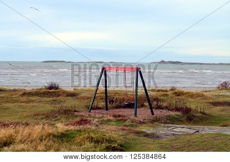 Swedish Landscape And Kids Playground At The Ocean
