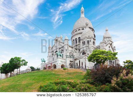 view of world famous Sacre Coeur church, Paris, France