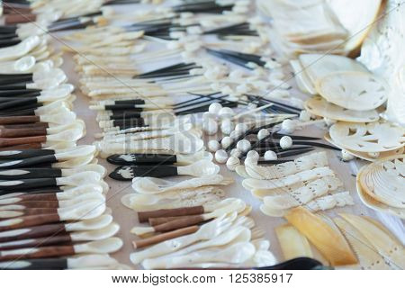 Mother Of Pearl Spoons Burma