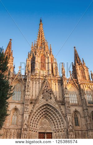 Barcelona Cathedral. Facade Over Blue Sky