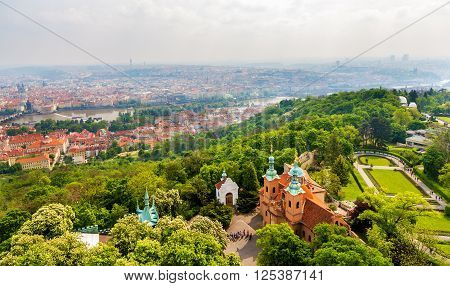 View of Saint Lawrence Cathedral on Petrin Hill in Prague, Czech Republic