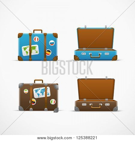 Travel bag vector set. Vacation design template