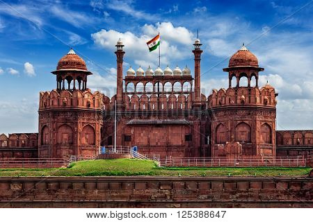 India travel tourism background - \Red Fort (Lal Qila) Delhi - World Heritage Site. Delhi, India