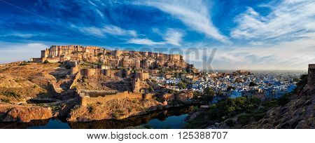 Famous indian tourist landmark - Panorama of Mehrangarh Fort and Padamsar Talab and Ranisar Talab lakes , Jodhpur, Rajasthan, India