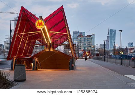 Warsaw, Poland - March 28, 2016: Warsaw subway station Rondo Daszynskiego. The Metro in Warsaw operates only two lines. This Image shows the futuristic subway station of the line M2 at Rondo Daszynskiego.
