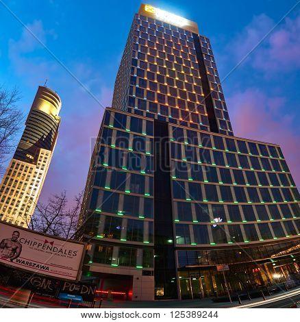 Warsaw, Poland - March 28, 2016: Grzybowska 78 street, Office building Prime Corporate Center, Raiffeisen Polbank Offices - Raiffeisen Polbank leased 95 percent.