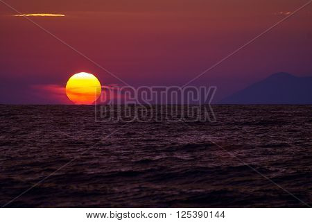 Sunset on the island of Corfu Greece