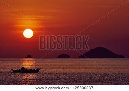 seascape sunset Palawan Philippines