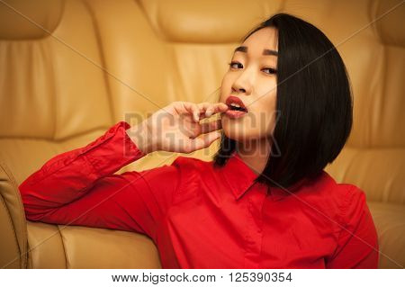 Portrait of asian woman in red shirt
