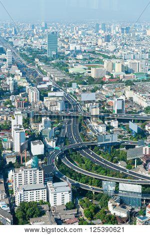 Overlooking Shot Of A Complex Urban Highway Interchange