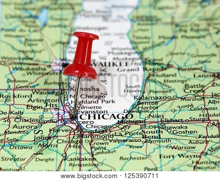Map with pin point of Chicago in USA