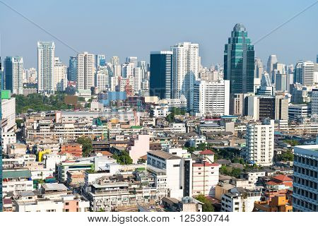 Crowded Urban Skyline Of Bangkok, Thailand, With Contemporary Highrise Buildings