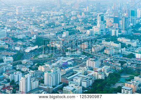 Overlooking View Of The Bangkok Cityscape In The Early Morning