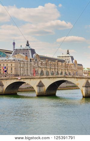 Orsay museum, pont Royal and river Siene at summer day, Paris, France