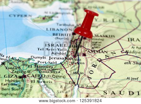 Map with pin point of Jerusalem in Israel