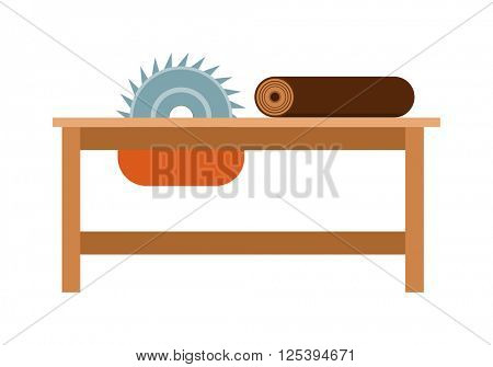 Power-saw bench icon industry tool equipment work steel construction vector illustration.