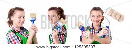 Woman painter with paintbrush on white