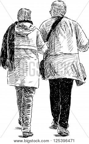 Vector drawing of an elderly spouses on a walk.