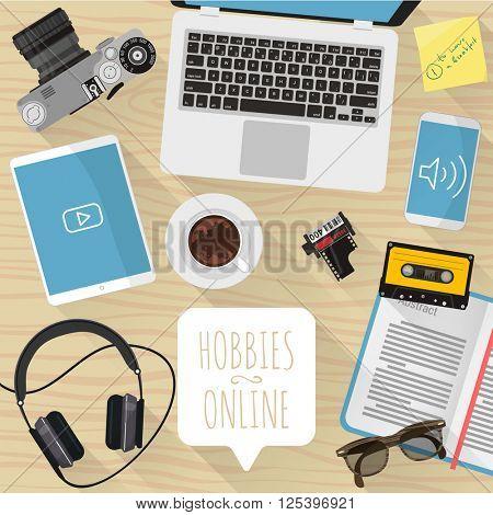 Hobby online. Vector desktop mock up.